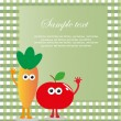 Royalty-Free Stock Vektorový obrázek: Fun frame design with fruits and vegetables. vector illustration