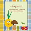 Fun frame design with fruits and vegetables. vector illustration — Vettoriali Stock