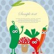 Fun frame design with fruits and vegetables. vector illustration — Stockvectorbeeld