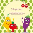 Fun frame design with fruits and vegetables. vector illustration - Stock Vector