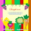 Fun frame design with fruits and vegetables. vector illustration — Stock Vector
