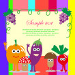 Fun frame design with fruits and vegetables. vector illustration — Stok Vektör