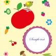 Lovely frame with fruits and vegetables. vector illustration — Stok Vektör