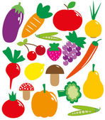 Set of fruits and vegetables. vector illustration — Stock Vector
