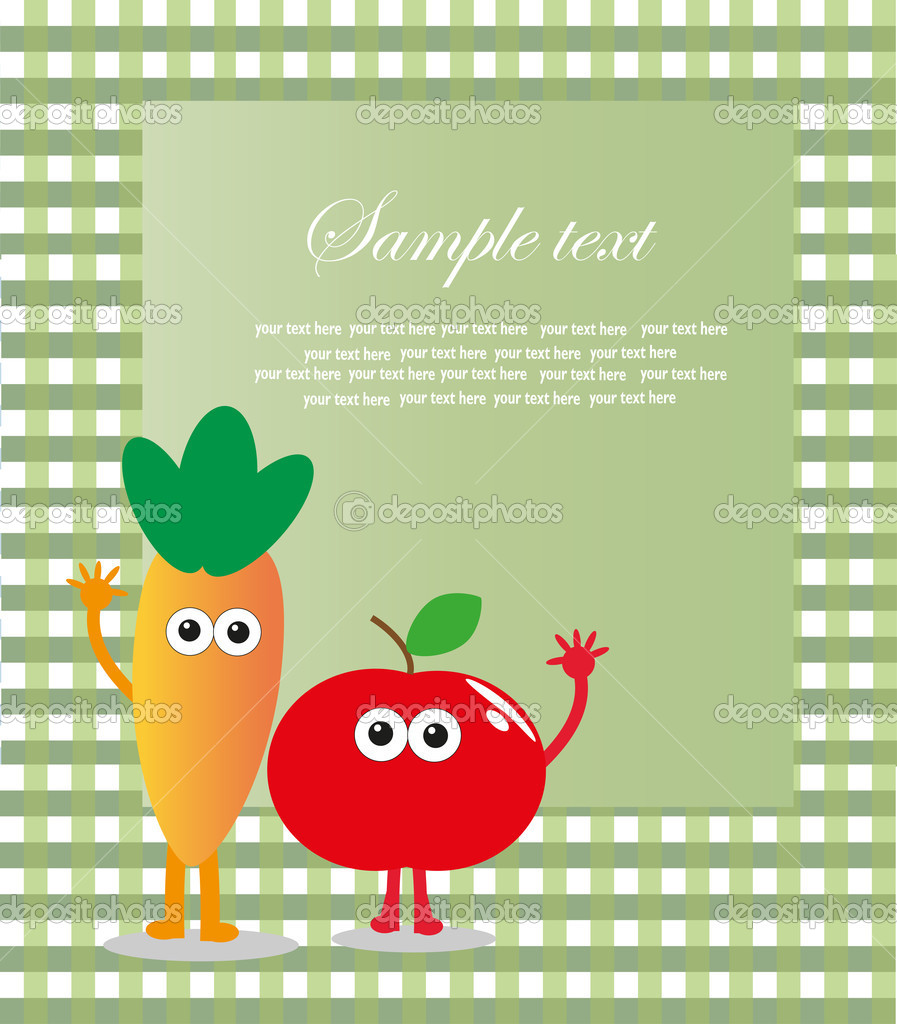 Fun frame design with fruits and vegetables. vector illustration — Stock Vector #10500443