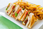 Club sandwich meal — Stock Photo