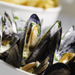 Mussel seafood and french frie — Stock Photo