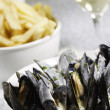 Royalty-Free Stock Photo: Mussel,frie and white wine