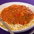 Stock Photo: Meat sauce spaghetti pasta