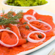 Smoked salmon meal — Stock Photo