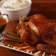 Roast chicken and sauce — Stock Photo
