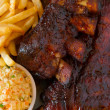 Stock Photo: Close up pork ribs back
