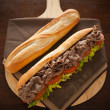 Baguette beef meat — Stock Photo #9928372