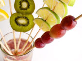 Focus the grape and various fruit — Stock Photo