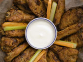 Chicken wings and blue cheese — Stock Photo