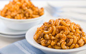 Macaroni meat tomato sauce horizontal — Stock Photo