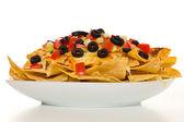 Horizontal cheese nachos — Stock Photo