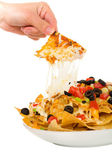 Melted cheese nachos isolated on white — Stock Photo