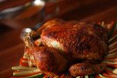 Roast chicken on vegetable — Stock Photo