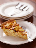 Apple pie on white plate — Stockfoto