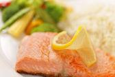 Macro salmon filet meal — Stock Photo