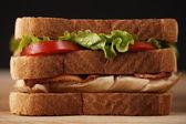Layer chicken club sandwich — Stock Photo