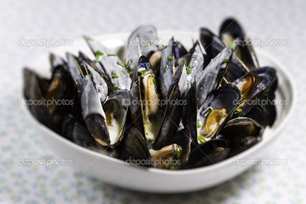 Mussel with white wine sauce  on a plate. Very shallow depth of field. — Foto Stock #9927043