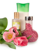 Bath salt, shampoo and body wash with tulips — Stock Photo