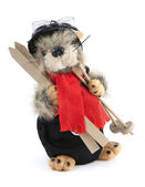 Toy beaver with skis — Stok fotoğraf
