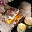 Spa accessories with candles — Stock Photo