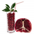 Pomegranate section and cocktail with a straw — Stock Photo