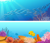 Sea life banner — Stock Vector