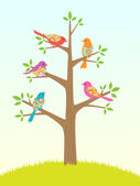 Bird tree — Stock Vector
