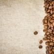 Stock Photo: Coffee Beans on Burlap, Hessian, Sacking Background