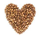 Heart from Coffee Beans isolated on white background — Foto Stock