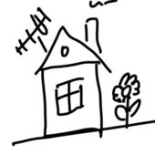 Drawing of a house — Stock Photo