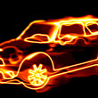 Stock Photo: Fiery car