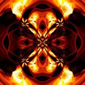 Resumen ardiente dibujo sobre un fondo negro. — Foto de Stock