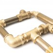 Metal water pipes on a white — Stock Photo
