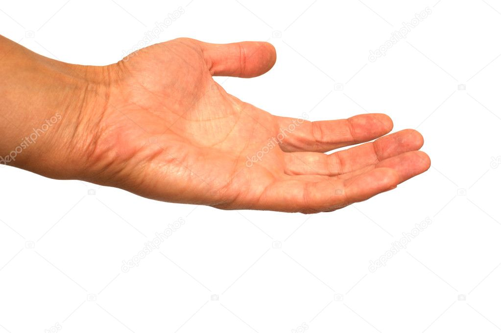 Asking gesture of a hand on a white background — Stock Photo #9931092
