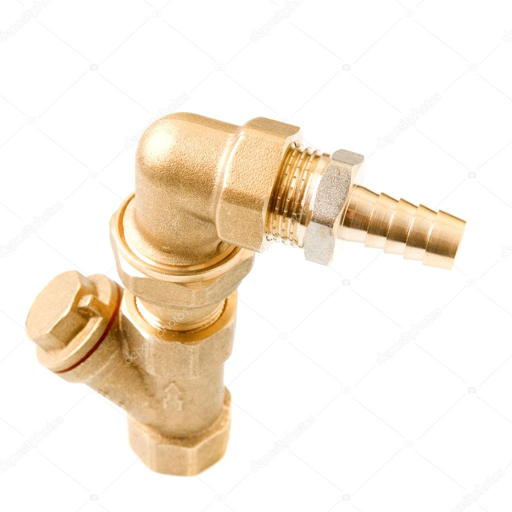 Metal water pipes on a white — Stock Photo #9931466