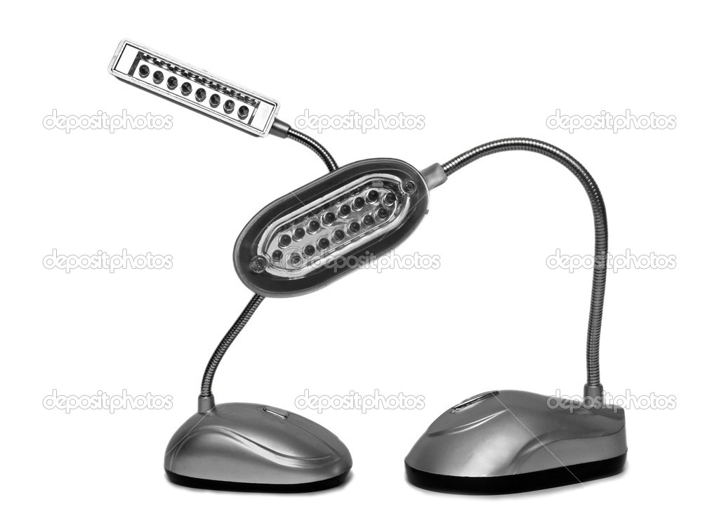 Composition from two desk lamps on a white background — Stock Photo #9931692