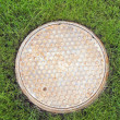 Sewer well on a green lawn — Stock Photo