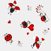 Seamless pattern with cute ladybird - vector — Stock Vector