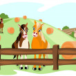 Stock Vector: Two cute horses on pasture