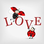 Ladybugs with letters LOVE — Stock Vector