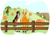 Two cute horses on pasture — Stock Vector