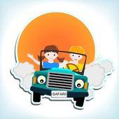 Mavi araba çocuklarda — Stok Vektör