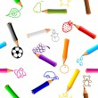 Seamless background with crayons — Stock Vector #10193712