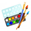 Watercolors with brushes — Stock Vector